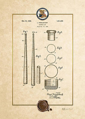 Digital Art - Baseball Bat By Lloyd Middlekauff - Vintage Patent Document by Serge Averbukh