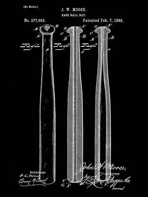 Baseball Bat Patent 1888 - Black Art Print by Stephen Younts
