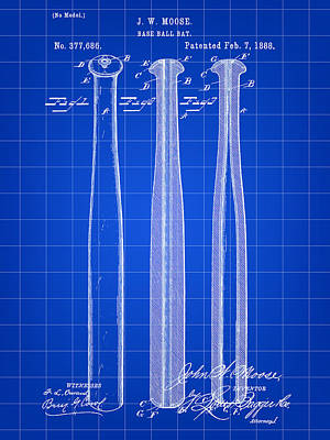 Baseball Bat Patent 1888 - Blue Art Print