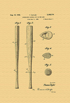 Baseball Bat Patent - 1938 Art Print