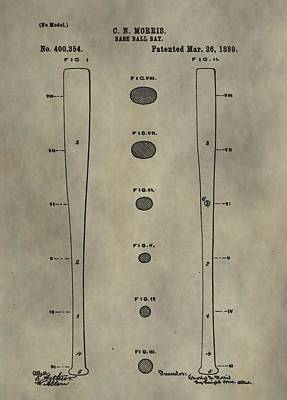 Babe Ruth Digital Art - Baseball Bat Patent by Dan Sproul