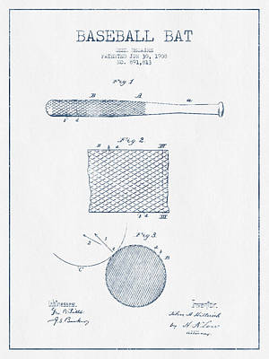 Sports Royalty-Free and Rights-Managed Images - Baseball Bat Patent Drawing From 1904 - Blue Ink by Aged Pixel