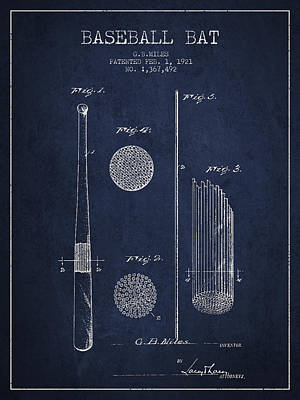 Sports Royalty-Free and Rights-Managed Images - Baseball Bat Patent Drawing From 1921 by Aged Pixel