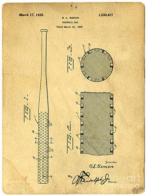 Baseball Bat Patent Art Print by Edward Fielding