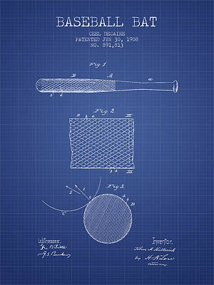 Softball Drawing - Baseball Bat Patent From 1908 - Blueprint by Aged Pixel