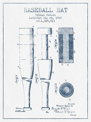 Baseball Bat Patent From 1919 - Blue Ink Art Print