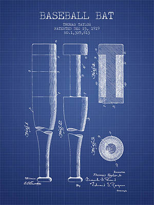 Sports Royalty-Free and Rights-Managed Images - Baseball Bat Patent from 1919 - Blueprint by Aged Pixel