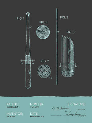 Baseball Royalty-Free and Rights-Managed Images - Baseball Bat Patent From 1921 - Gray Blue by Aged Pixel