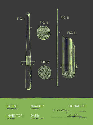 Baseball Royalty-Free and Rights-Managed Images - Baseball Bat Patent From 1921 - Gray Green by Aged Pixel
