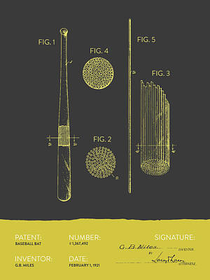 Gloves Digital Art - Baseball Bat Patent From 1921 - Gray Yellow by Aged Pixel