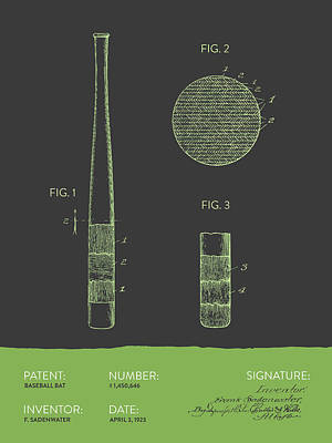 Sports Royalty-Free and Rights-Managed Images - Baseball Bat Patent From 1923 - Gray Green by Aged Pixel