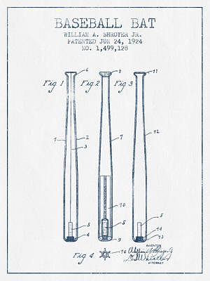 Sports Royalty-Free and Rights-Managed Images - Baseball Bat Patent from 1924 - Blue Ink by Aged Pixel