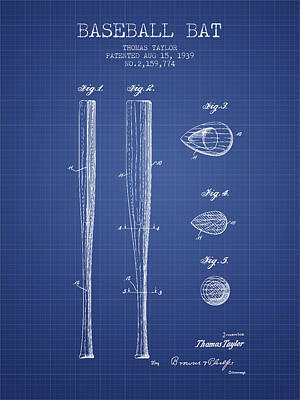 Sports Royalty-Free and Rights-Managed Images - Baseball Bat Patent from 1939 - Blueprint by Aged Pixel
