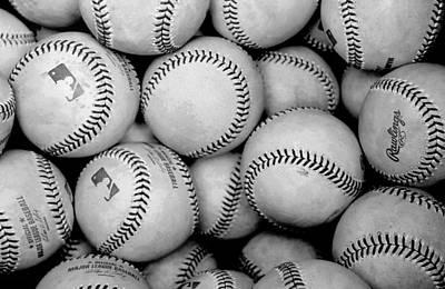 Baseball Black And White Art Print by Joe Hamilton