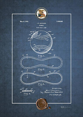 Digital Art - Baseball By John E. Maynard - Vintage Patent Blueprint by Serge Averbukh