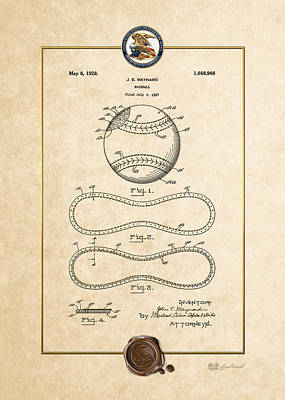 Digital Art - Baseball By John E. Maynard - Vintage Patent Document by Serge Averbukh