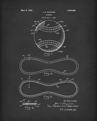 Baseball Art Drawing - Baseball By Maynard 1928 Patent Art Black by Prior Art Design