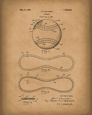 Baseball Art Drawing - Baseball By Maynard 1928 Patent Art Brown by Prior Art Design