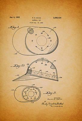 Baseball Art Drawing - Baseball Cap Patent 1955 by Mountain Dreams