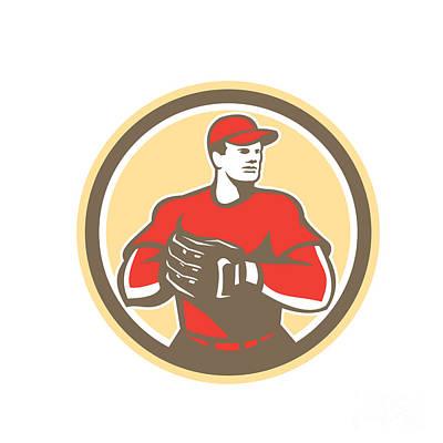 Mitts Digital Art - Baseball Catcher Gloves Circle Retro by Aloysius Patrimonio