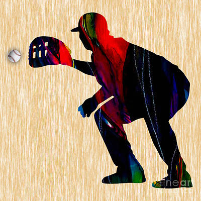 Mixed Media - Baseball Catcher by Marvin Blaine