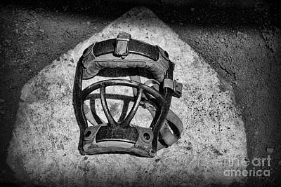National Past Time Photograph - Baseball Catchers Mask Vintage In Black And White by Paul Ward