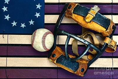 Folk Art Photograph - Baseball Catchers Mask Vintage On American Flag by Paul Ward