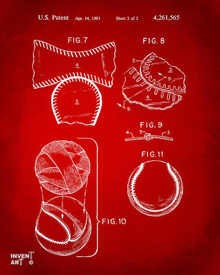 Sports Digital Art - Baseball Construction Patent 2 - Red by Nikki Marie Smith