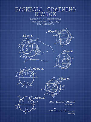 Baseball Art Drawing - Baseball Cover Patent From 1963- Blueprint by Aged Pixel