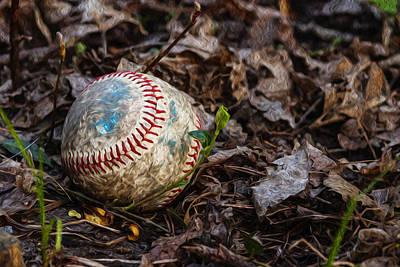Digitally Manipulated Photograph - Baseball Digital Oil Painting by Vishwanath Bhat