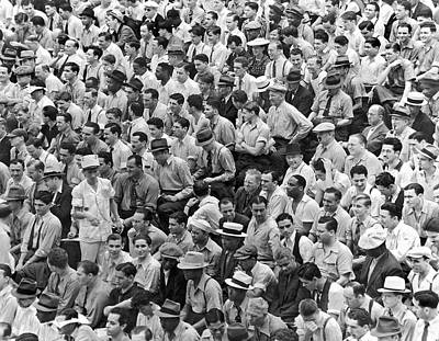 Baseball Stadiums Photograph - Baseball Fans In The Bleachers At Yankee Stadium. by Underwood Archives