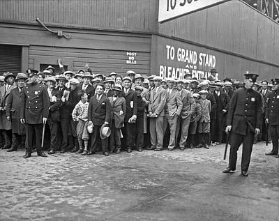 Photograph - Baseball Fans Waiting In Line To Buy World Series Tickets. by Underwood Archives