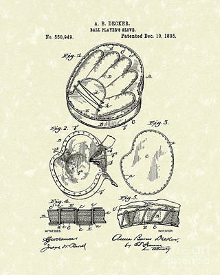 Baseball Glove Drawing - Baseball Glove 1895 Patent Art by Prior Art Design