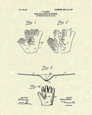 Baseball Glove Drawing - Baseball Glove 1907 Patent Art by Prior Art Design