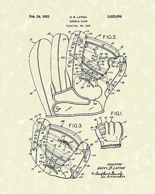Baseball Glove Drawing - Baseball Glove 1953 Patent Art by Prior Art Design