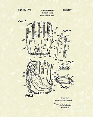 Baseball Glove Drawing - Baseball Glove 1970 Patent Art by Prior Art Design