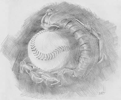 Art Print featuring the drawing Baseball Glove by Michele Engling
