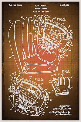 Baseball Royalty-Free and Rights-Managed Images - Baseball Glove Patent Blueprint Drawing Sepia by Tony Rubino