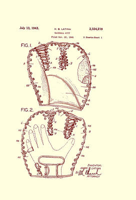 Baseball Glove Drawing - Baseball Glove Patent 1943 by Mountain Dreams