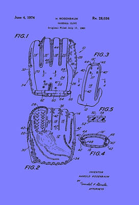 Baseball Art Drawing - Baseball Glove Patent 1974 by Mountain Dreams