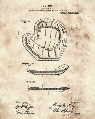 Patent Digital Art - Baseball Glove Patent Brn by Brian Lambert