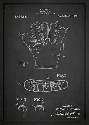Baseball Glove Patent Drawing From 1922 Art Print