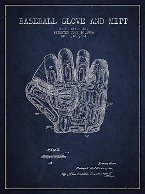 Sports Royalty-Free and Rights-Managed Images - Baseball Glove Patent Drawing From 1924 by Aged Pixel