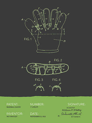 Sports Royalty-Free and Rights-Managed Images - Baseball Glove Patent From 1922 - Gray Green by Aged Pixel