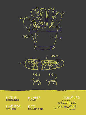 Sports Royalty-Free and Rights-Managed Images - Baseball Glove Patent From 1922 - Gray Yellow by Aged Pixel