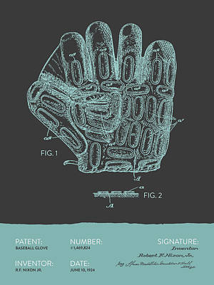 Sports Royalty-Free and Rights-Managed Images - Baseball Glove Patent From 1924 - Gray Blue by Aged Pixel