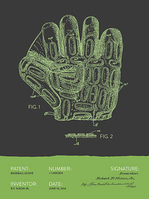 Sports Royalty-Free and Rights-Managed Images - Baseball Glove Patent From 1924 - Gray Green by Aged Pixel