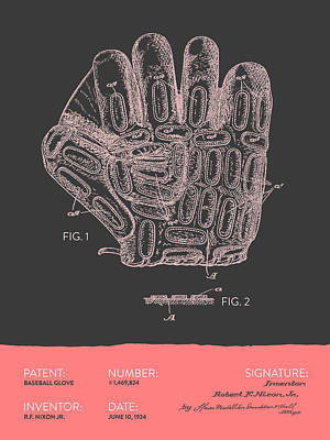 Sports Royalty-Free and Rights-Managed Images - Baseball Glove Patent From 1924 - Gray Salmon by Aged Pixel