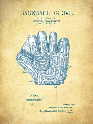 Sports Royalty-Free and Rights-Managed Images - Baseball Glove Patent From 1924 - Vintage Paper by Aged Pixel