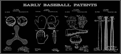 Baseball And Gloves Digital Art - Baseball History 2 Patent Art by Daniel Hagerman